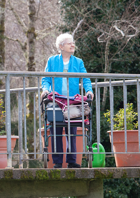 A senior enjoying our outdoor activites
